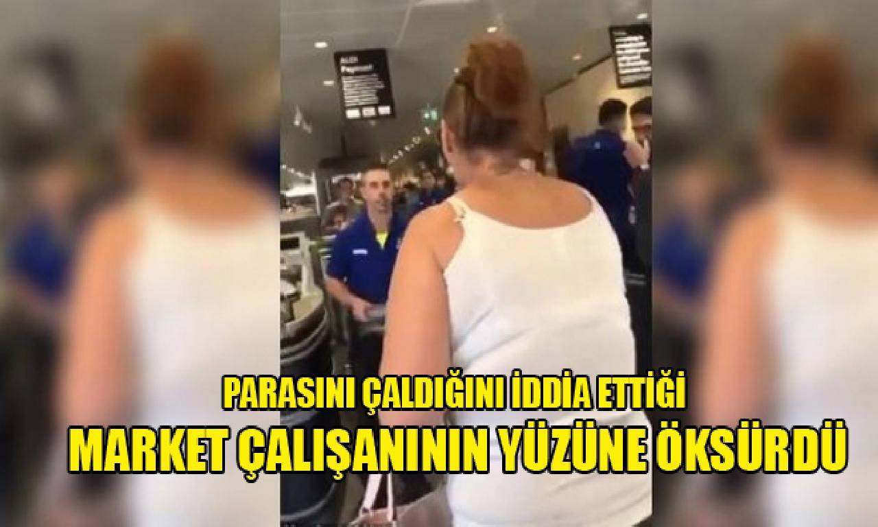 Parasını çaldığını sav ettiği market çalışanının yüzüne öksürdü