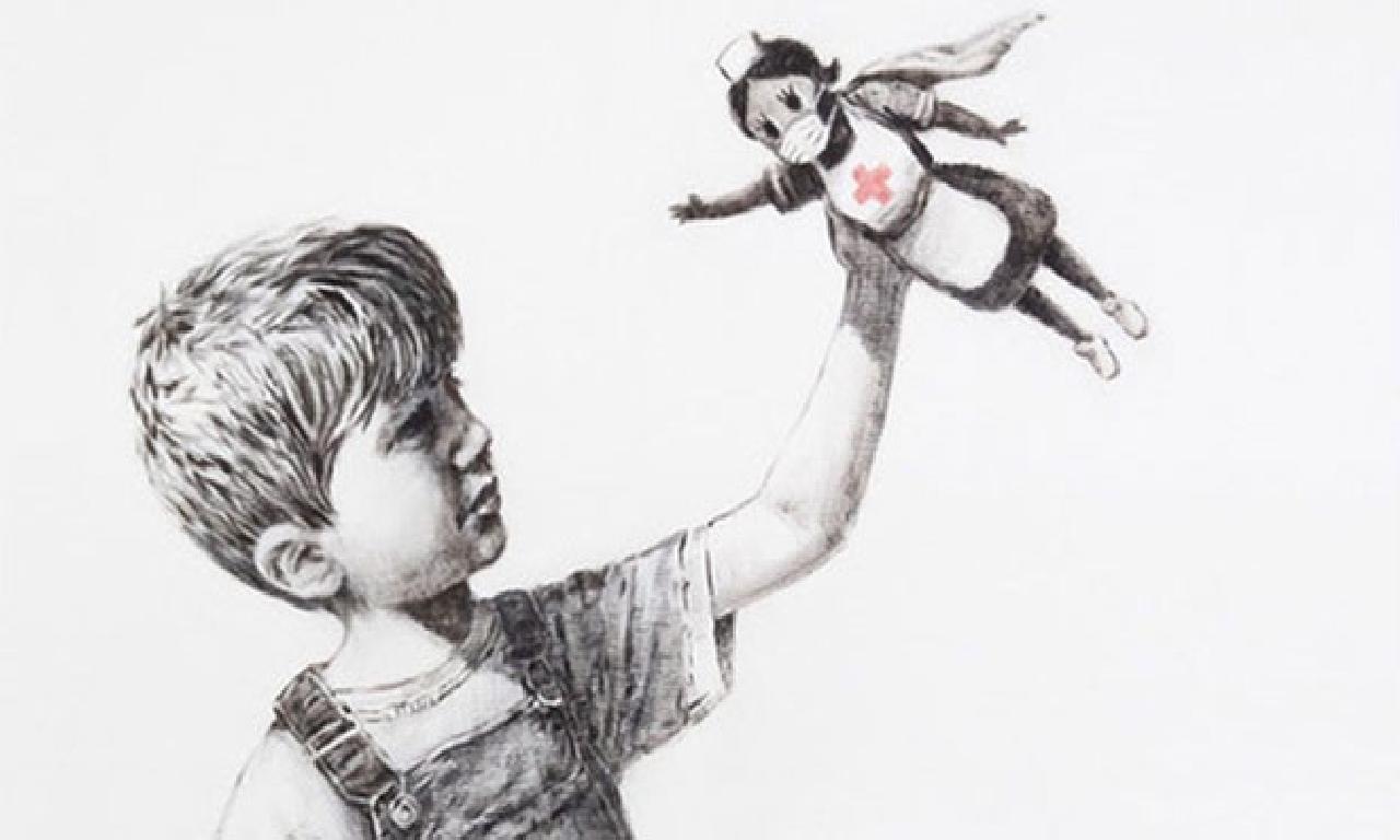 Banksy İngiltere'de Bir Hastaneye Resim Hediye Etti